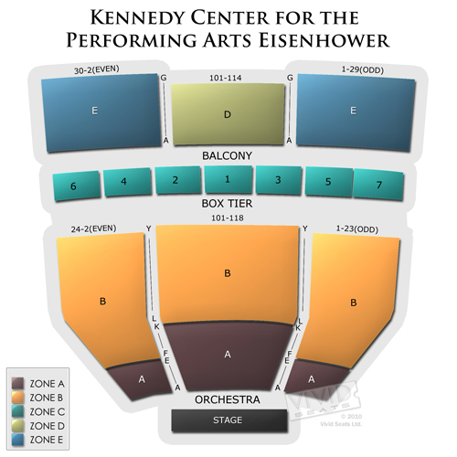 Kennedy center eisenhower theater seating chart vivid seats for Terraces cinema schedule