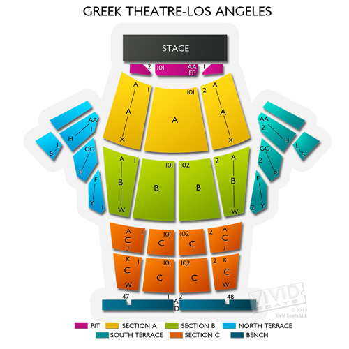 Greek theatre los angeles seating chart for socal s top outdoor