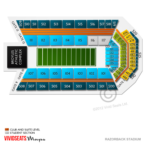 Razorback Stadium Tickets  Razorback Stadium Seating