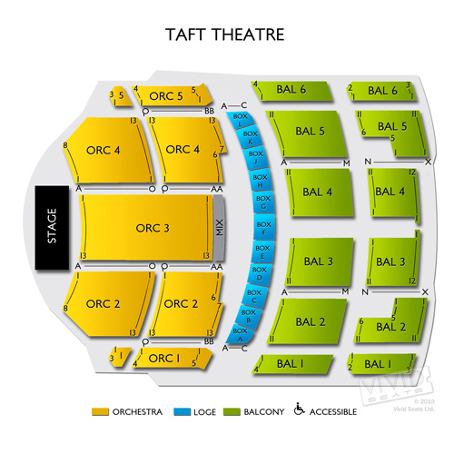Taft Theatre Seating Chart Vivid Seats