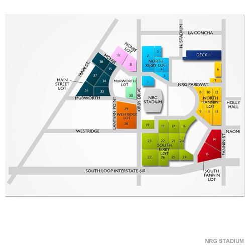 Nrg Stadium Parking Nrg Stadium Parking Map Vivid Seats