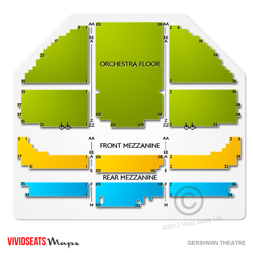 Gershwin theatre concert tickets and seating view vivid seats