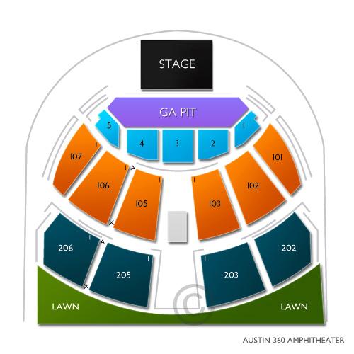 Austin360 amphitheater austin tx seating chart stage austin