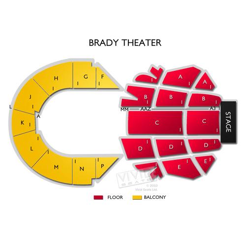 Brady Theater Tickets Brady Theater Information Brady Theater Seating Chart