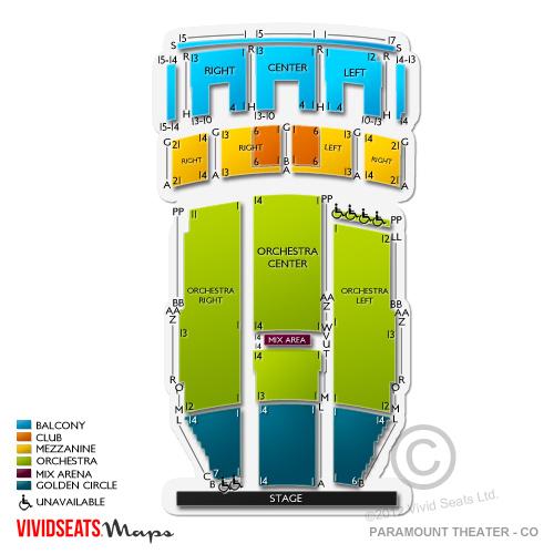 Paramount Theatre Denver Seating Chart Vivid Seats