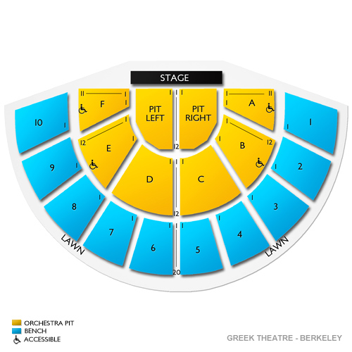 Greek Theatre Berkeley Seating Map Awesome Home