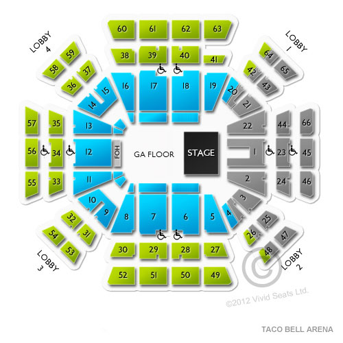 Taco Bell Arena Tickets Taco Bell Arena Seating Chart