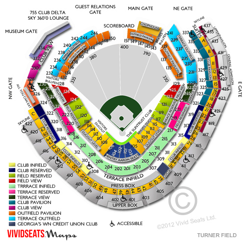 Turner field seating chart general admission suntrust park