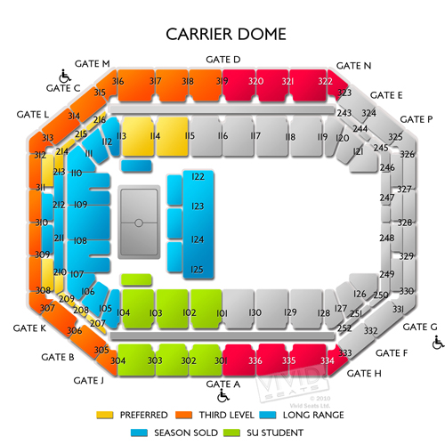 Carrier Dome Seating Chart Basketball With Rows