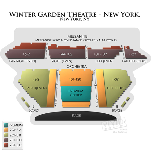 Winter Garden Theatre Ny Seating Chart Vivid Seats