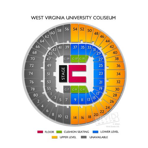 west virginia university coliseum seating chart vivid seats. Black Bedroom Furniture Sets. Home Design Ideas