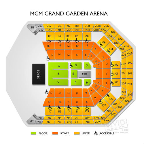 Mgm Grand Garden Arena Seating Chart With Seat Numbers