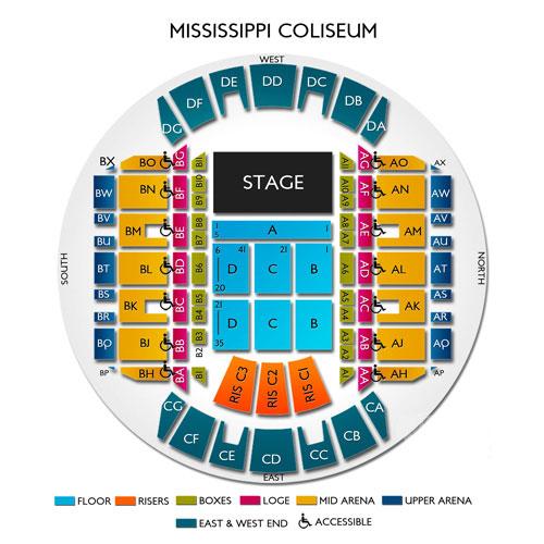 Mississippi coliseum jackson ms seating chart stage jackson