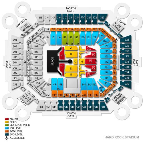 bowl seating hard rock stadium seating map / hard rock