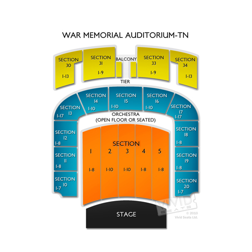 War Memorial Auditorium Tn Seating Chart Vivid Seats