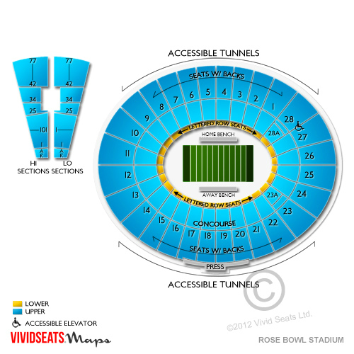 rose bowl seating chart rows and seat numbers: Stadium seating guide for rose bowl concerts vivid seats