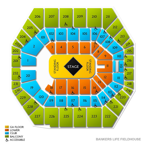 Bankers life fieldhouse indianapolis in seating chart stage