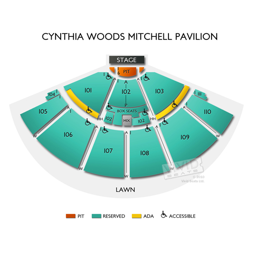 Cynthia Woods Mitchell Pavilion Concert Tickets And Seating View