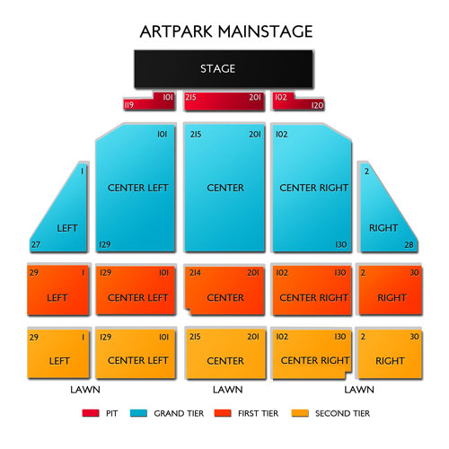 Artpark amphitheatre lewiston ny seating chart stage buffalo